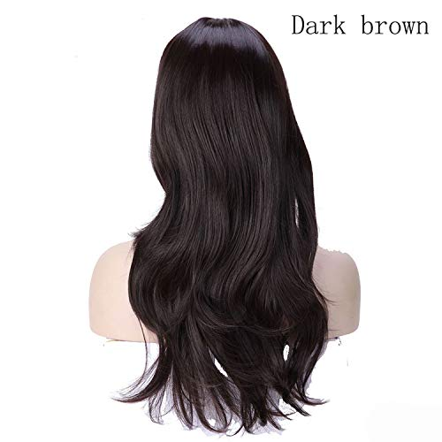 Women Long wavy Wig brown Heat Resistant Fiber Natural Synthetic Hair Head Wig Party For black Women-in Synthetic None,dark brown,24inches
