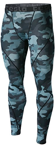 TSLA Men's Compression Pants Running Baselayer Cool Dry Sports Tights Leggings, Athletic(mup19) - Camo Dark Grey, Small