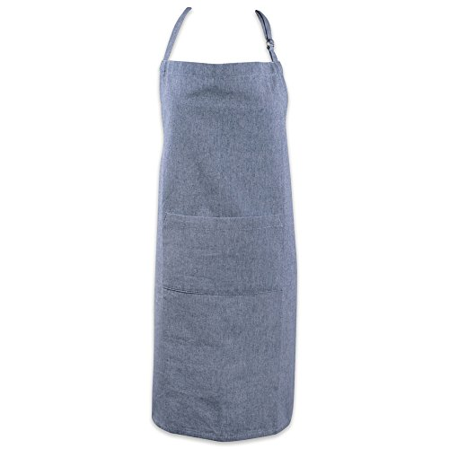 Blue Lady Painting - DII Cotton Adjustable Chambray Bib Chef Apron with Pockets and Extra Long Ties, 32 x 28,Kitchen Men & Women Apron for Cooking, Baking, Gardening, BBQ-Blue