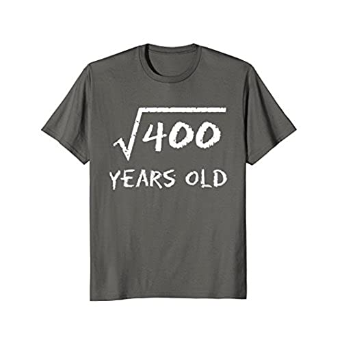 Mens Square Root Of 400 20th Birthday 20 Years Old T Shirt XL Asphalt