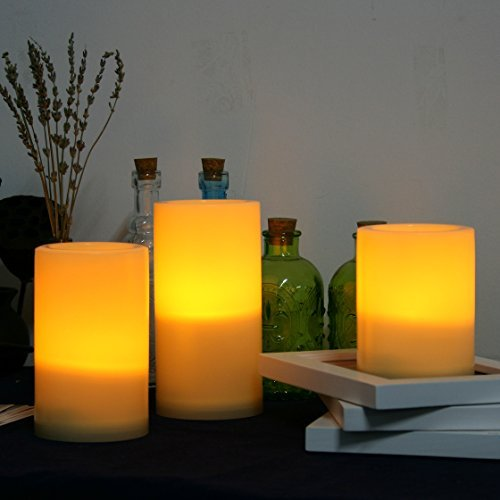 "Candle Choice 3 PCS Outdoor Flameless Candles with Timer, Realistic Flickering LED Pillar Candles, Weatherproof Battery Operated Candles, Long Battery Life 1500+ Hours, Even Edge 3""x4"", 5"", 6"""