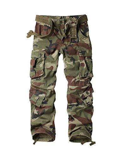 Mens Camo Pants Medium - Must Way Men's Cotton Casual Military Army Cargo Camo Combat Work Pants with 8 Pocket Battlefield Camo 40