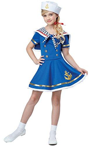 California Costumes Sunny Sailor Girl Costume, Blue/White, (Kids Sailor Girl Costumes)