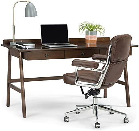 SIMPLIHOME Rylie SOLID WOOD Contemporary Modern 60 inch Wide Home Office Desk