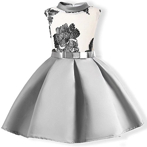 Designs Satin Flower Girl Dress - Oukaiyi Baby Girl Dress Party Wedding Flower Dresses Sleeve Gowns(Silver 2-3Y)