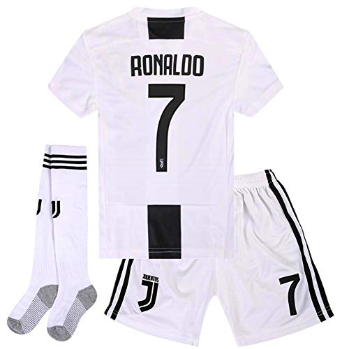 013a772562b Naxqa-xqy Ronaldo  7 Soccer Jersey 2018-2019 Juventus Home Kids Soccer  Jersey   Shorts   Socks Color White Size 5-6Years 20