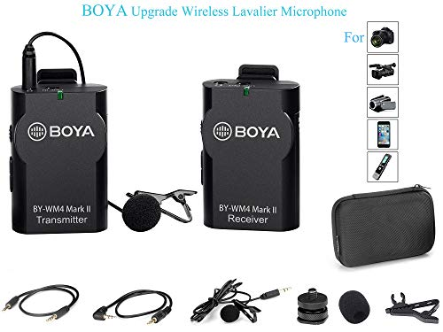 BOYA Upgrade 2.4GHz Wireless Lavalier Lapel Mic, Omnidirectional Microphone System Audio Recording with Easy Clip On, 3.5mm Plug for Canon Nikon Sony DSLR Camera, Camcorder, iPhone Huawei Smartphone (Cable Hot Shoe 01)