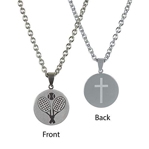 Dicksons Tennis Player Pendant 24 inch Men's Stainless Steel Necklace ()