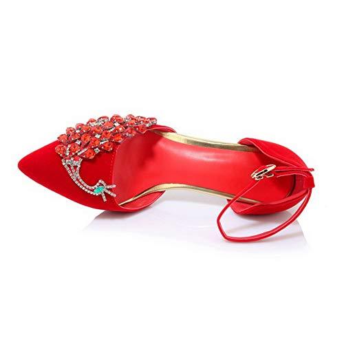 Donna con SDC05950 Zeppa 35 Rosso Sandali Red AdeeSu EU nEIq7ATE