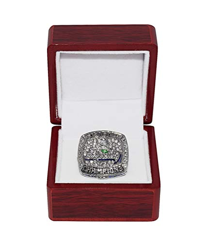 SEATTLE SEAHAWKS (Russell Wilson) 2013 SUPER BOWL XLVIII WORLD CHAMPIONS Rare Collectible Replica Silver NFL Football Championship Ring with Cherrywood Display Box (Football Championship Seahawks)