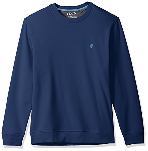 IZOD Men's Advantage Performance Long Sleeve Solid Fleece Soft Crewneck Pullover, Dark True Blue, - Jacket Soft Advantage