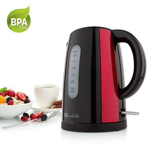 Odette Fast Boil 7 Cup (1.7 Liter) BPA-Free Cordless Black and Red Electric Kettle with Auto Shut Off, Boil Dry Protection and Double Layer Handle for Cool Touch