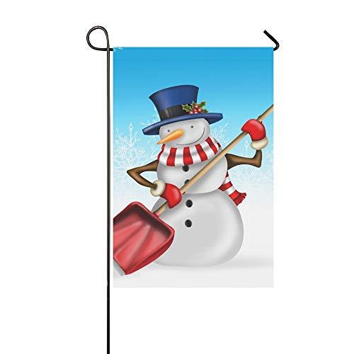 (Jnseff Home Decorative Outdoor Double Sided Snowman Shovel Garden Flag,House Yard Flag,Garden Yard Decorations,Seasonal Welcome Outdoor Flag 12 X 18 Inch Spring Summer Gift)