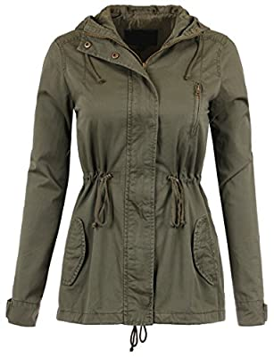 KOOLDO Womens Fully Lined Classic Anorak Jacket with Hood and Waist Drawstring