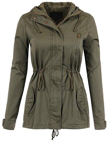 Olive Drawstring (BEKDO Womens Classic Anorak Full Line Hooded Jacket With Waist Drawstring-S-Olive)