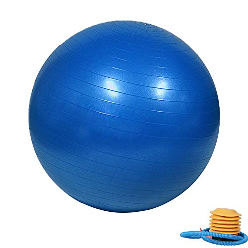 (Extra Thick Anti Burst Balance Exercise Ball with Quick Foot Pump,Slip Resistant Stability Ball for Yoga, Fitness, Balance, Core Strength, Work Chairs, Gym, office,Home-Training and Physical therapy)