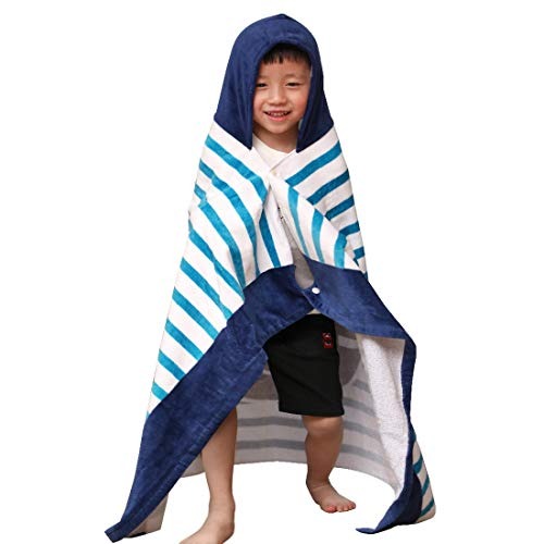 SearchI Hooded Bath Towel for Kids Boys Girls 2 to 7 Years Old, Fast Drying Beach Towel for Swim Pool Ultra Absorbent 100% Cotton Poncho Bath Towel 50x30 Inches(Sailboat)