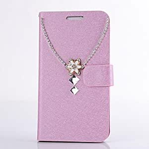 TOPAA Diamond Gem Necklace PU Leather Full Body Case with Stand for iPhone 4/4S(Assorted Colors) , Pink