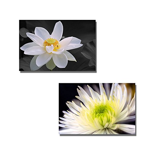 White Chrysanthemums and White Lotus Wall Decor ation x 2 Panels