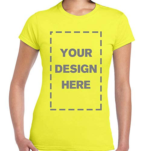 Yellow Text T-shirt - Baranovo Woman Custom Add Your Own Design Photo Text Name Here Cotton T Shirts for Women Yellow XL