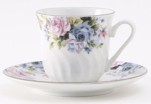 Millicent Porcelain Tea Cup & Saucer with Gold Trim, Set of 6; Vintage Floral (6