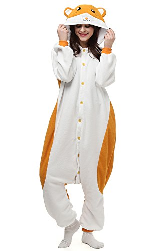Adults Kigurumi Hamster Onesie Pajama Cute Animal Costume Cospaly Partywear Outfit Homewear S (Hamster Costume For Adults)