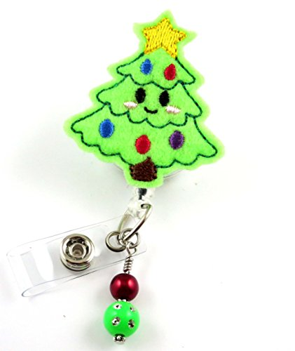 Smiling Christmas Tree - Nurse Badge Reel - Retractable ID Badge Holder - Nurse Badge - Badge Clip - Badge Reels - Pediatric - RN - Name Badge Holder