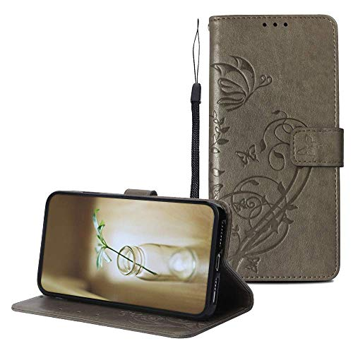 IVY PU Leather Flower Wallet Case iPhone 4 [Embossed] [Magnetic Function] Butterfly Folio Cover for iPhone 4S - Gray