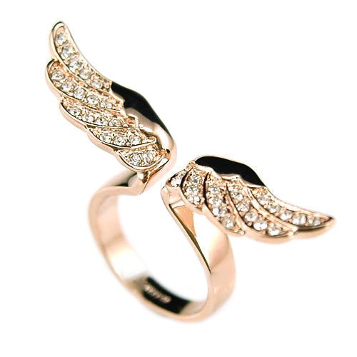 Acamifashion Women's Vintage Retro Angel Wing Gold Plated Adjustable Open Rings Jewelry by Acamifashion (Image #3)