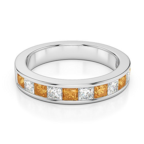 Or blanc 18 carats 1/2 ct G-H/VS Certifié Coupe Princesse Citrine et diamants Agdr-1137