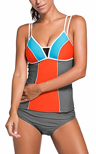 Donne Topolino in bottoni due bikini Arancione a con UMilk pezzi Tankini dFaxdw