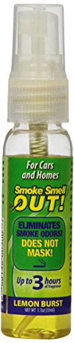 Smoke Smell Be-Gone! Smoke & Odors Eliminator for Home, Office & Car. Natural Non-Aerosol Air Freshener 1.1oz (33ml), Lemon Scent