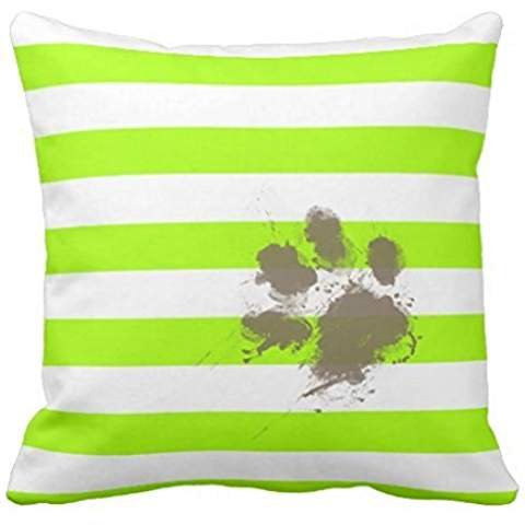 - Funny Pawprint on Electric Lime Green Stripes pillowcase Pillow shams case Cushion Cover 1616