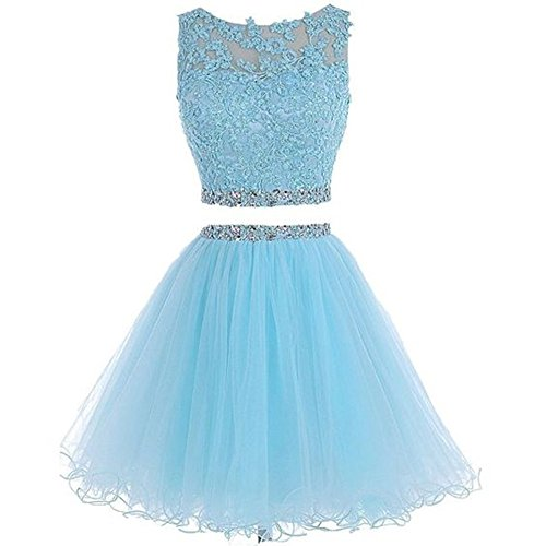 Henglizh Sweet 16 Party Dresses For Teens Lace Applique Short Tulle Backless Prom Dress Sky Blue,US12 (Teen Dresses Homecoming)