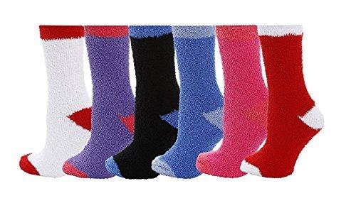 Mamia 6 Pairs Women's Cozy Slipper Socks Fuzzy Sock Multi Color (2 Tone)