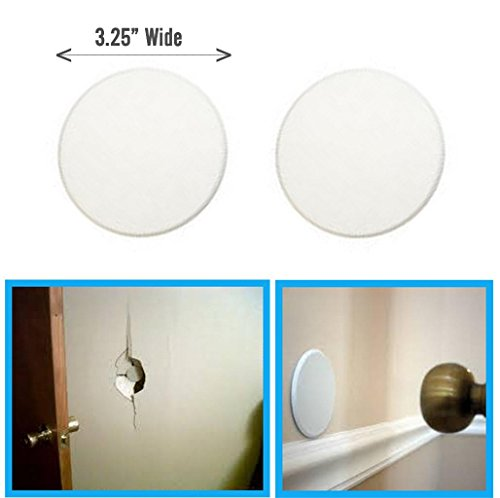2pc ALAZCO Door Knob Wall Protector Shield Plates Round White Self Adhesive (Door Hole Cover)