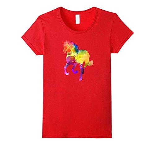 Womens Watercolor Splash Love Horse Tee Shirt XL - Colour Splash Red