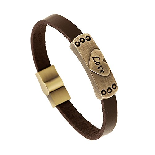 Leather Bangle Bracelet Band Wrist Stamped Love Handmade Charm Bracelets Leather Wristband for Men Women (Brown Leather Stamped)