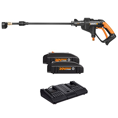 Worx WO7046 20V Hydroshot Portable Power Cleaner, 320 PSI, with 2 20V Li-ion (2.0Ah) batteries and Dual Charger