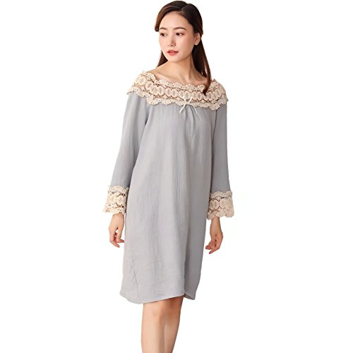 96c7001a30 QLX Women s Cotton Sleepdress Victorian Styles Lace Nightgown Long Sleeves  Nightdress - Buy Online in Oman.