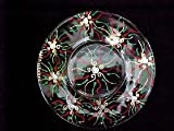 Regal Poinsettia Design - Hand Painted - Platter/Serving Plate - 13 inch diameter