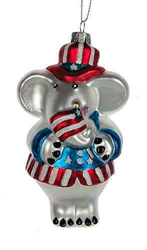 Patriotic Elephant Glass Ornament 5-1/2 in