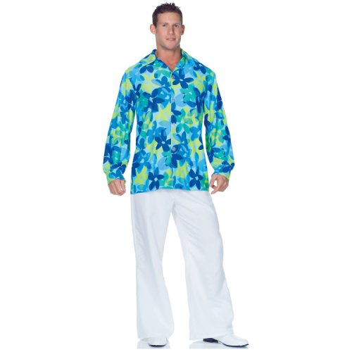 Underwraps Men's Plus-Size 60's Flowers Shirt, Blue/Green, XX-Large - Last Minute Halloween Costumes Ideas For Adults