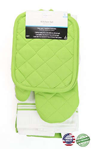 Lime Green Pot - 5 piece kitchen towel set (Lime Green)
