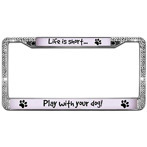 (GND Life is Short Play with Your Dog License Plate Frame Stainless Steel Bling,Dog Paw Prints Crystal Stainless Steel License Plate Holder Universal to fit All US License)