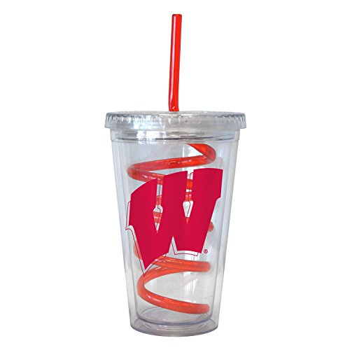 NCAA Wisconsin Badgers 16 oz Swirl Straw Tumbler with Lid (Wisconsin Insulated Mug compare prices)
