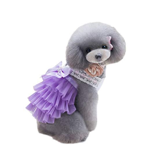 LVYING Pet Summer Bowknot V-Neck Costume Dress Dog