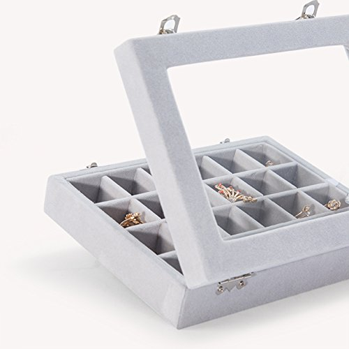 Basuwell 24 Grid Velvet Jewelry Tray for Drawers Glass Clear Lid Showcase Display Storage Ring Trays Holder Earrings Organizer Case-Grey by Basuwell (Image #7)