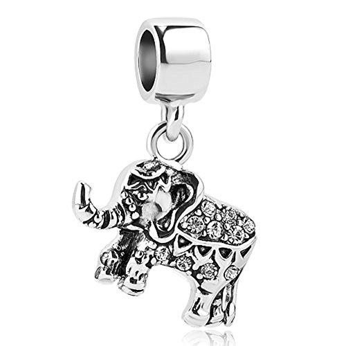 Cory Keyes Dangle Elephant Charms Animal Charm Bead for Bracelet (White)
