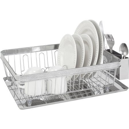 Amazon.com: Kitchen Details Dish Rack with Cup and Tray with Pave ...